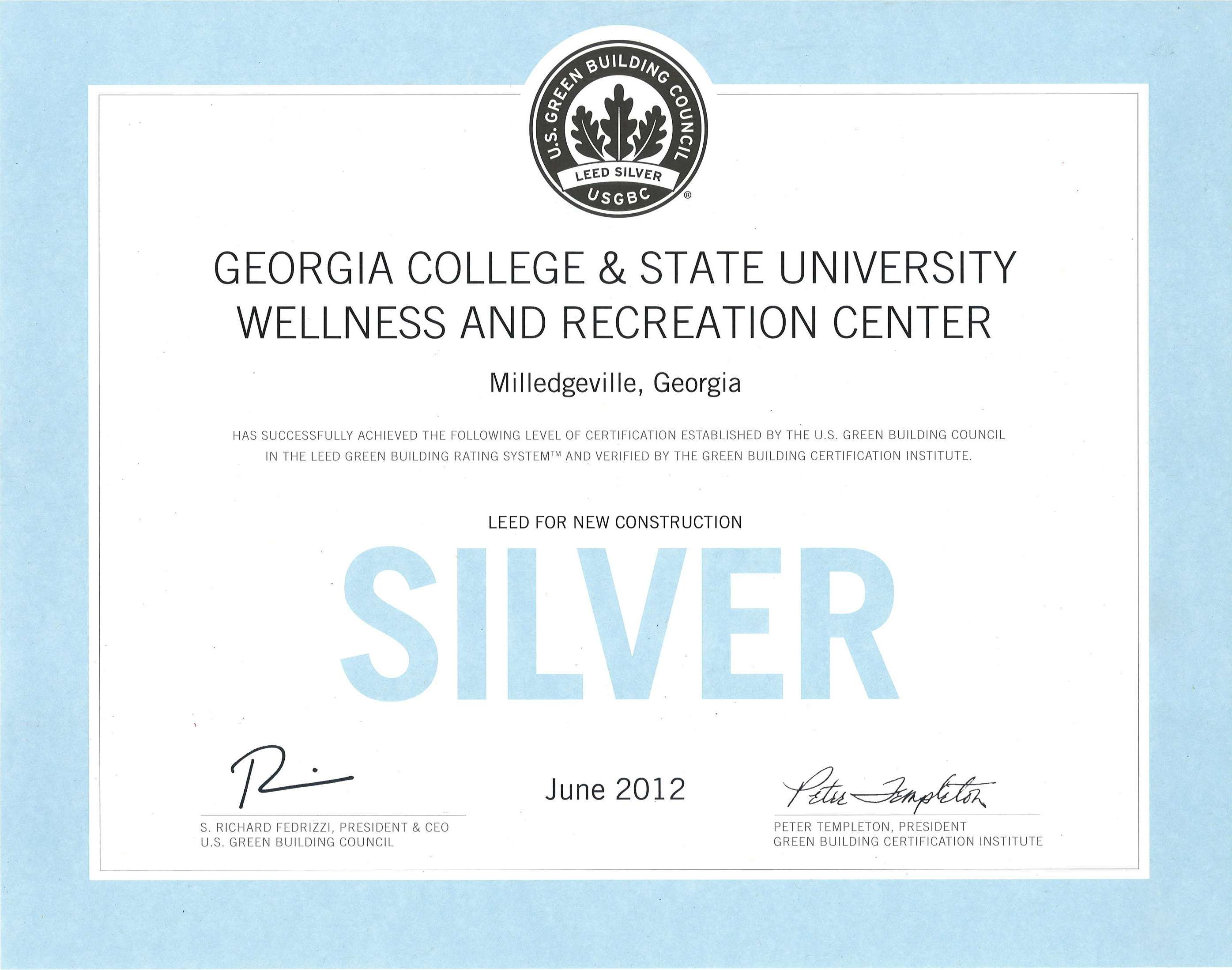 Its Official Wellness Center Makes Leed Silver Georgia College
