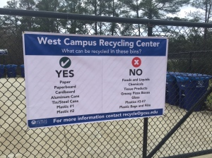 West Campus Recycling Center Sign